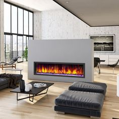 Our stylish and functional fireplace can warm up any room up to 400 square feet. Great for providing supplemental heat to large rooms. Linear Fireplace, Fireplace Inserts, Modern Fireplace, Fireplace Mantels, Fire Glass, Blue Flames, Electric Fireplace, Warm, Home Decor