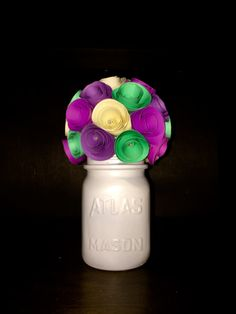 Colorful Paper Flower Bouquet - In A Hand Painted Cream Mason Jar! by SisterActDesigns on Etsy