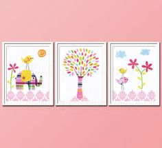 Hey, I found this really awesome Etsy listing at http://www.etsy.com/listing/116090213/baby-girl-pink-nursery-art-print-set