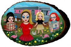 """I would love to get my hands on this painting: """"Li'l Ladies of Pink Flamingos"""" by Lisa Petrucci. She has many more such bright fun pop-inspired pieces on her site (which is mostly Flash, so I was happy to find this on somebody'sFlickr)."""