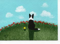 Border Collie Dog ACEO Art Painting Original Miniature by Todd Young