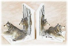 55 Inch Brown and White Sitting Wolf Pack Design Collectible Bookends *** Visit the image link more details.