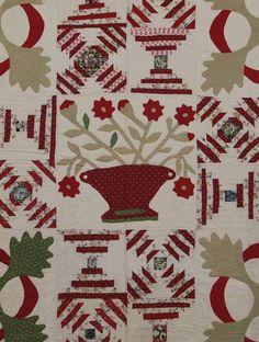 Detail ~ Appliqué Basket & Floral 19C. American Album Quilt : Lot 207