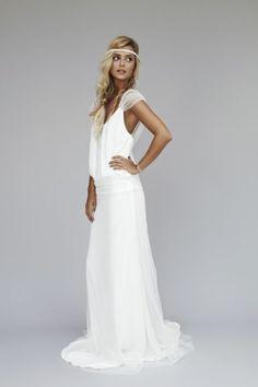 brautkleider boho chic stil weisses langes hochzeitskleid