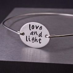 Yoga Jewelry, Yoga Bangle Bracelet, Love and Light Bracelet
