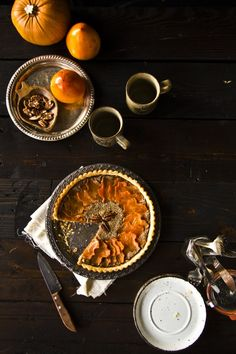 {I cannot get over how beautiful this tart is.} Pecan Frangipane Tart with Orange-Cardamom Poached Sweet Potato Leaves | Princess Tofu