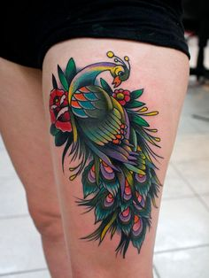 Thigh Peacock Tattoo - Traditional Tattoo Designs  <3 <3