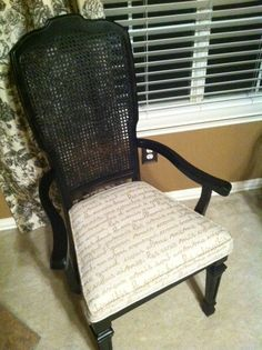This was an ugly old brown chair with an awful floral fabric before black spray paint and french script fabric!