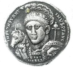 """Constantine: Silver Medalion 316 CE: The first instance of a chi-rho ( a Greek 'X' and 'P' linked to express the 'nomen Christi', in Greek  'ΧΡΙΣΤΟΣ') on a coin of Constantine is on a rare silver medallion issued from Ticinum in 315. Eusebius even stated that Constantine """"was in the habit of wearing on his helmet [the chi-rho] at a later period."""" (Vita Constantini)"""