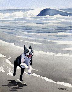 """Boston Terrier"" Dog Art Print Signed by Artist DJ Rogers DJ Rogers Fine Art http://www.amazon.com/dp/B0019AGAHW/ref=cm_sw_r_pi_dp_xyqVub1MCT0C5"
