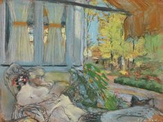 Madame Hessel Reading on the Terrace of Clos Cézanne (c.1920-1925). Edouard Vuillard (French, 1868-1940). Pastel on paper.
