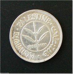Palestine 1935 50 Mils Coin SILVER COIN English, Hebrew & Arabic aUNC LUSTROUS R