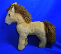 Original Modern Stuffed Animal Steiff Toy Horse with Button #^B29