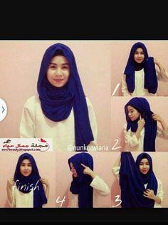 ☺ Simple Hijab Tutorial, Hijab Simple, Hijab Style Tutorial, Scarf Tutorial, Hijab Mode Inspiration, Style Inspiration, Islamic Fashion, Muslim Fashion, Niqab Fashion