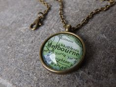 Vintage Bronze Pendant Necklace - Melbourne Victoria Australia Map - Custom Pendant - Personalised Location