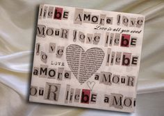 2 paper napkins for decoupage with love words by ArsaiSupplies