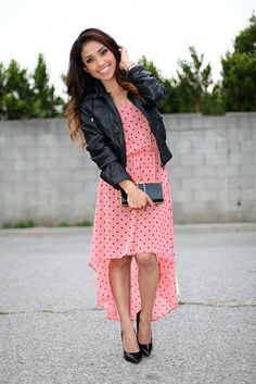 Hi lo pink polka dot dress with a leather jacket that looks identical to the one I own- so cute!