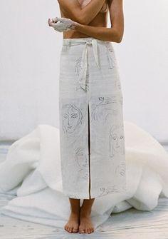 Subtle faces, cotton wrap skirt, Paloma wool...