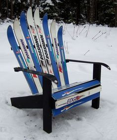 Adirondack Chair made from old Skis.  Great re-purpose and conversation piece.