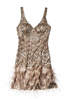 Brides.com: Wedding Style Inspiration: Feathers. Short dress with beads and feathers, $518, Sue Wong for Unique Vintage  Browse more bridesmaid dresses.