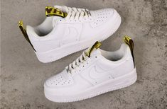 Custom Nike Air Force 1 Low Off-White Belt Yellow Air Force 1, Nike Shoes Air Force, Nike Air Force Ones, Off White Belt, Off White Shoes, White Sneakers Nike, White Nikes, Nike Kicks, Jordan Shoes Girls