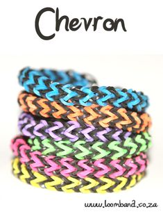 chevron loom band bracelet tutorial, instructions and videos on hundreds of loom band designs. Shop online for all your looming supplies, delivery anywhere in SA. Rainbow Loom Bracelets Easy, Loom Band Bracelets, Rainbow Loom Tutorials, Rainbow Loom Patterns, Rainbow Loom Creations, Rainbow Loom Bands, Rainbow Loom Charms, Macrame Bracelets, Pandora Bracelets