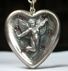 Cupid Puffy Heart Colorful Star Studded Vintage Silver Charm Pendant | eBay