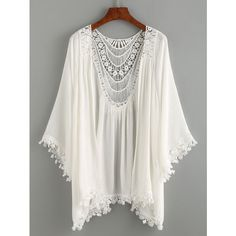 Lace Trimmed Crochet Insert Kimono - White (40 BRL) ❤ liked on Polyvore featuring intimates, robes, kimono, tops, white, kimono robe, white kimono, white robe and lace trim robe