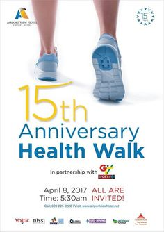 As part of our 15th Anniversary celebration and social responsibility, our scheduled quarterly health walk comes off on Saturday April 8,2017 at 5.30am prompt. Guess the route this time... we walking the from AYI MENSAH TOLL BOOTH UP THE ABURI MOUNTAIN BACK TO THE AYI MENSAH TOLL BOOTH... yeah!!!! Its always fun walking with you. Call 020 225 2228 for your free shirts and further details. Don't miss out!!!!