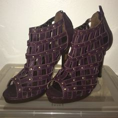 Baby Phat Purple Studded Heels Baby Phat purple caged sandals.  Gold studs.  In great condition. Perfect match with the Blue/Purple/Blue Tory Burch purse listed in my closet. Baby Phat Shoes Sandals