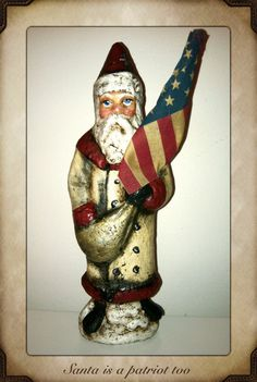 Patriotic Santa In red and cremeAmerican Flag in by PaperBabies on Etsy