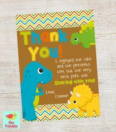 Dinosaur Thank You Card Dinosaur Birthday by NicePrintables, $8.00