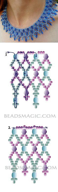 Free pattern for necklace Adriatic faceted beads 5-6 mm bicone beads 5-6 mm seed beads 10/0 – 11/0