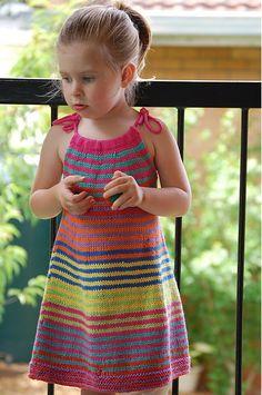 Ravelry: Summer Happy Fun Dress pattern by Jade Fletcher Crochet Dress Girl, Crochet Girls, Crochet Blouse, Crochet For Kids, Knitting For Kids, Baby Knitting Patterns, Kids Dress Patterns, Crochet Toddler, Crochet Baby