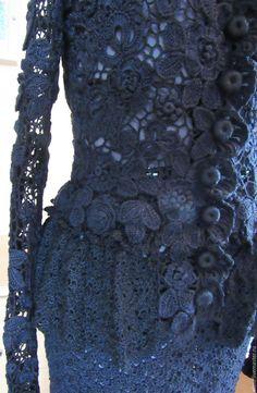 "Костюмы ручной работы. Костюм ""Чёрное кружево"". 'Ирландское кружево' Елена. Ярмарка Мастеров. Юбка, баска Irish Crochet, Knit Crochet, Irish Lace, Lace Skirt, Crochet Patterns, Sewing, Knitting, Wedding Dresses, Sweaters"