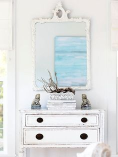 DIY Cottage Decor:: Use Reflective Qualities in Decor ! Reflective surfaces enhance the Cottage Style ethereal atmosphere. Here, a seascape painting on the opposite side of the room is reflected in this mirror to create an open, airy feel. House Design Photos, Home Design, Interior Design, Design Room, Floor Design, Interior Ideas, Design Ideas, White Cottage, Cottage Style