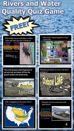 This is a FREE 145 slide PowerPoint Review Game about Rivers and Water Quality Topics. This Review Game is one small part of my Rivers, Lakes, Fish, and Water Quality Unit that I offer on TpT. Answers and game sheet are provided. -Enjoy!