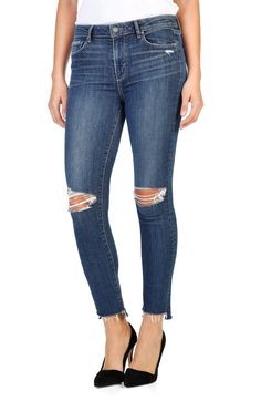 Main Image - PAIGE Hoxton High Waist Ankle Peg Skinny Jeans (Dedee Destructed)