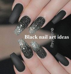 40 Most Trendy and Attractive Night Black Nails Art Acrylic Nails Matte Nails - Nail Art - Black Nail Art, Black Nails, Matte Nails, Glitter Nails, Matte Black, Matte Pink, Black Glitter, Acrylic Nail Art, Acrylic Nail Designs
