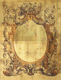 зеркало эгломизе. Шебби-шик. Стекло, цветная литография, золотая зеркальная поверхность. Bella Mattina 2014г.