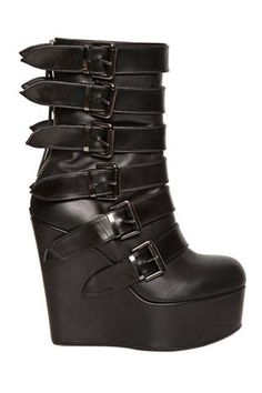 TAYLOR MOMSEN  BB Bruno Bordese Washed Buckle Boot Wedges, $ 740; luisaviaroma.com