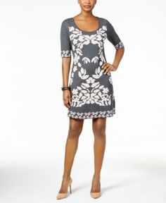 Ny Collection Floral-Jacquard Sweater Dress - Black S Ny Collection, Review Dresses, Dresses Online, Dress Black, Floral, Casual, Sweaters, Shopping, Women