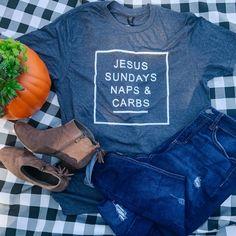 JESUS, SUNDAYS, NAPS, & CARBS t-shirt - Small