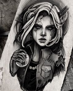 Helena Zołotykh | VK Anime Tattoos, Body Art Tattoos, Girl Tattoos, Stencils Tatuagem, Tattoo Stencils, Dark Art Tattoo, Real Tattoo, Art Drawings Beautiful, Dark Art Drawings