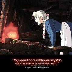 Sophie Studio ghibli (yeah but nobody believes that.c'mon let's be honest) Studio Ghibli Quotes, Studio Ghibli Art, Studio Ghibli Movies, Howl's Moving Castle, Hayao Miyazaki, Manga, Anime Shows, Totoro, Anime Love