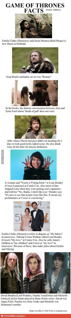 Game of Thrones Facts-Part 3 (including which three GoT actors played in the Harry Potter movies).