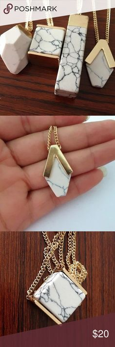 Marble pendant necklace - great gift idea!   Beautiful geometric marble pendant on gold chain. This would look so pretty layered with other necklaces. Jewelry Necklaces