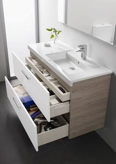 Modern small bathroom vanity with storage drawers vanity bathroomvanity vanityideas bathroom bathroomideas storage organization decorhomeideas. 16 Awesome Vanity Ideas For Small Bathrooms, Modern Small Bathrooms, Small Bathroom Vanities, Master Bathroom, Bathroom Ideas, Bathroom Vanity With Drawers, Dream Bathrooms, Bathroom Designs, Bathroom Faucets, Vanity For Small Bathroom