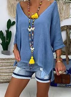 Plus Size Solid V-Neckline Casual Shift Blouses Sleeves Plus Blouses Plus Size Solid V-Neckline Casual Shift Blouses Sleeves Plus Blouses the latest fashion & trends in women's collection. Look Fashion, Fashion Outfits, Womens Fashion, Fashion Trends, Fashion 2020, Spring Fashion, Fashion Online, Outfit Chic, Look Boho