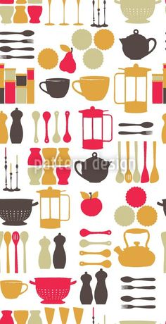 Vintage Kitchen Stuff Ornament, designed by Laura Foster Nicholson    High-quality Vector Pattern from patterndesigns.com